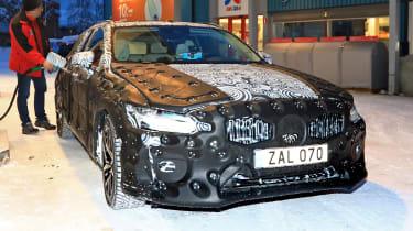 Volvo V60 spied - filling station front