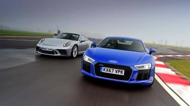 Audi R8 RWS vs Porsche 911 GT3 - head-to-head