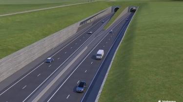 Stonehenge tunnel - banked roads