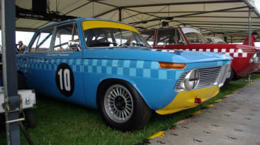 A BMW 1800 Ti/SA ready to race - and you could hardly miss it with the bright livery.
