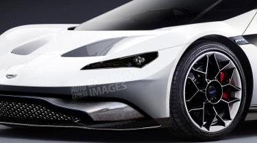 Aston Martin's Tesla Roadster rival - front detail (watermarked)
