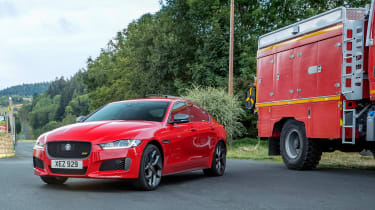 Jaguar XE and fire engine