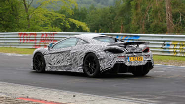 McLaren 600LT spy shots rear tracking
