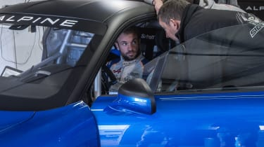 Alpine A110 Cup driver being instructed