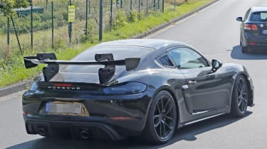 Porsche Cayman GT4 RS spy shots rear spoiler