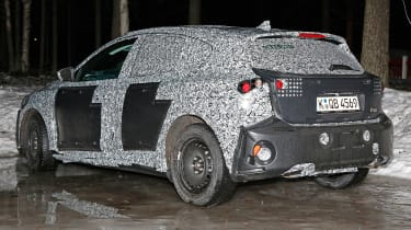 2018 Ford Focus spy shot rear quarter