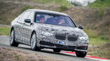 The new BMW 7 Series at BMW's top secret Miramas testing facility.
