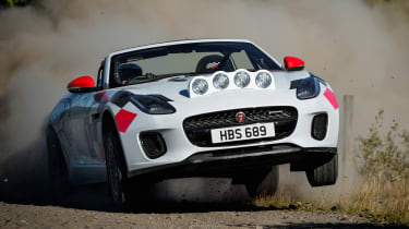 Jaguar F-Type rally car - front cornering