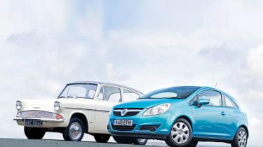 Ford Anglia and Vauxhall Corsa