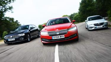 Skoda Superb vs Volkswagen Passat vs Vauxhall Insignia Grand Sport - header