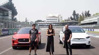 Jaguar I-Pace vs Tesla Model X P100D launch race start line