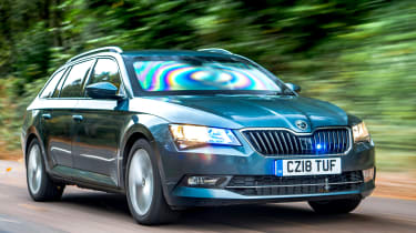 Skoda Superb Estate armoured car - front tracking