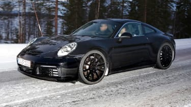 Porsche 911 spy shot front quarter