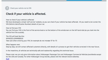 <strong>05/10/2015:</strong> Websites set up across the VW Group so owners can check if their car is affected. Separate sites available for VW, Audi, Skoda and SEAT.&nbsp;