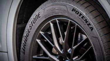Close up of a Bridgestone Potenza Sport tyre