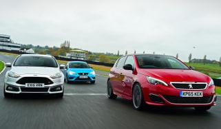 Peugeot 308 GTi vs Ford Focus ST Mountune vs SEAT Leon Cupra
