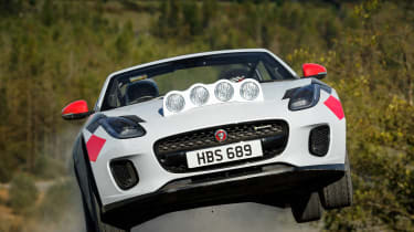 Jaguar F-Type rally car - full front jump