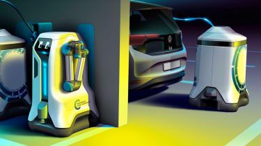 Volkswagen EV charging robot - parked