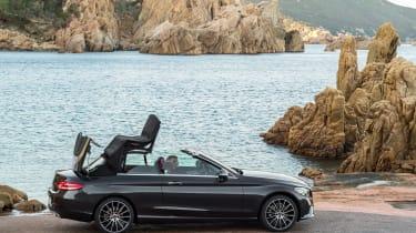 New Mercedes C-Class Cabrio - roof rising