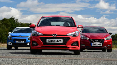 Hyundai i20 vs Citroen C3 vs Nissan Micra - head-to-head