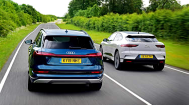 Audi e-tron vs Jaguar I-Pace - rear head-to-head