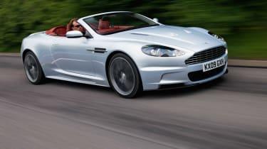 Aston Martin DBS Volante convertible front tracking