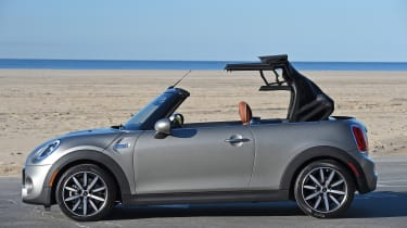 MINI Cooper S Convertible 2016 review - roof opening 2