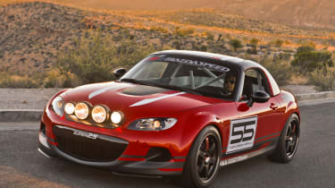 What's the wildest Mazda MX-5 special? That'll be the Super25 concept. This was basically a racing car built for the SEMA show in 2012. It featured a full roll cage, Sparco racing seat and a full race harness. Mazda also chucked a dazz