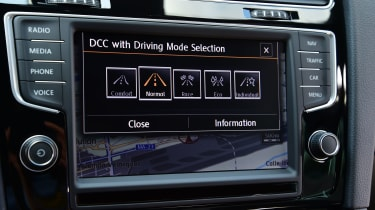 Various driving modes can be selected through the Golf's large touchscreen.