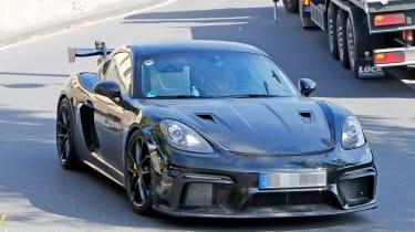 Porsche Cayman GT4 RS spy shots front