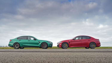 BMW M3 Competition vs Alfa Romeo Giulia Quadrifoglio - side