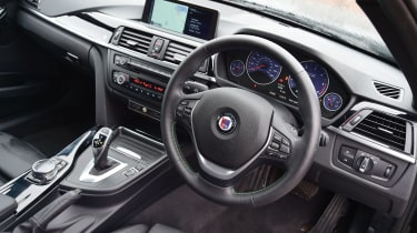 Interior retains basic 3 Series architecture but gets neat, bespoke Alpina touches.