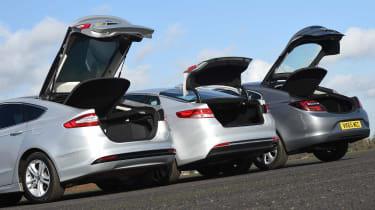 Kia Optima vs Ford Mondeo vs Vauxhall Insignia - boots open