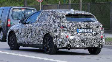 2019 BMW 1 Series spy shot rear quarter