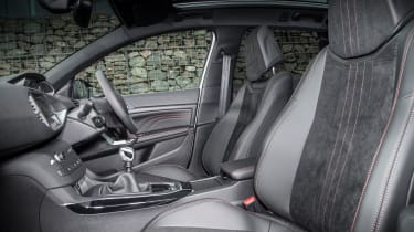 "<p class=""p1"">Part-Alcantara seats add to sporty feel, which is reinforced by compact leather steering wheel and aluminium pedals up front.</p>"