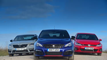 Peugeot 308 GTi vs VW Golf GTI vs Skoda Octavia vRS - static header