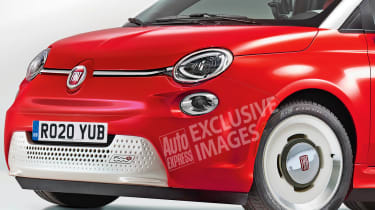 Electric Fiat 500 exclusive image closeup front