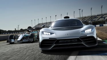 Mercedes-AMG Project ONE and Formula 1 car
