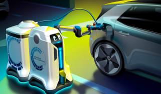 Volkswagen EV charging robot - front