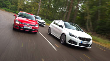 Peugeot 308 vs Volkswagen Golf vs Honda Civic - head-to-head