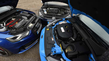 Focus RS vs RS3 vs Golf R - engines