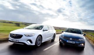 Vauxhall Insignia Sports Tourer GSi vs Volkswagen Passat Estate - header