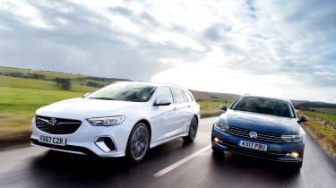Vauxhall Insignia Sports Tourer GSi vs Volkswagen Passat Estate - header