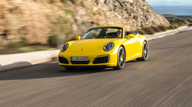 Porsche 911 Carrera S Cabriolet front tracking
