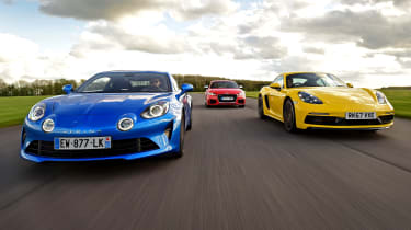 Alpine A110 vs Audi TT RS vs Porsche Cayman - header