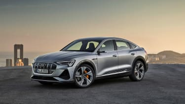 As is the fashion these days, the Audi e-tron SUV now has a coupe SUV cousin in the shape of the e-tron Sportback. Audi says the range is 216 miles for the 50 and 278 miles for the 55 versions.