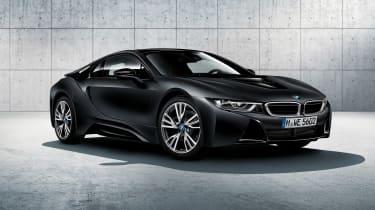 BMW i8 protonic frozen black front quarter