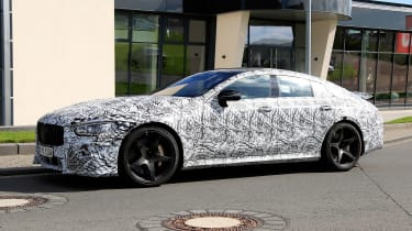 Mercedes AMG GT four-door spy shot side