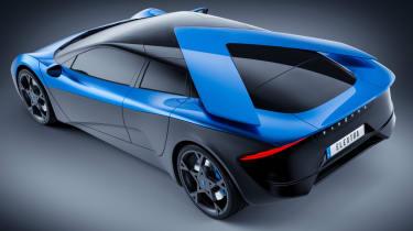 Blue Elextra four-seat EV rear quarter