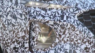 Hyundai Santa Fe spy shot headlight detail